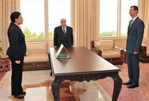 Syrian president Basher Assad, right, meets newly appointed ambassador to France Lamia Shakkour in this 2008 photo.