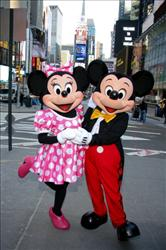 Minnie and Mickey, in normal attire.