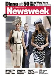 In this magazine cover image released by Newsweek, a computer-generated image of Princess Diana is shown with Kate Middleton on the cover of the July 4, 2011 issue of Newsweek magazine.