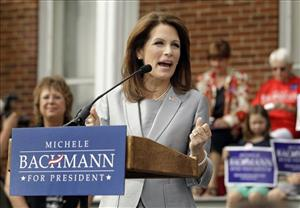 In this June 27, 2011, file photo, Rep. Michele Bachmann, R-Minn., officially announces her intent to seek the Republican presidential nomination in Waterloo, Iowa.