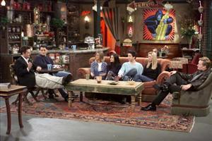 Matthew Perry, Matt LeBlanc, Jennifer Aniston, Courteney Cox, David Schwimmer, and Lisa Kudrow are joined by talk show host Conan O'Brien.
