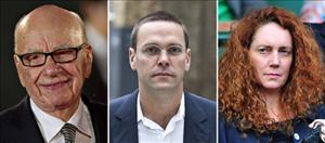 News Corp Chief Rupert Murdoch, son James, and Rebekah Brooks.