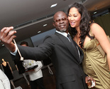 Kimora Lee Simmons and Djimon Hounsou celebrate Vanity Fair's July Africa issue.