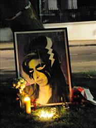 Amy Winehouse vigil outside Amy Winehouse's North London home on July 23, 2011 in London, England.