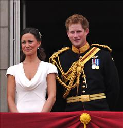 Best man Prince Harry and Maid of Honor Pippa Middleton on the balcony at Buckingham Palace after the Royal Wedding of Prince William to Catherine Middleton on April 29, 2011 in London.