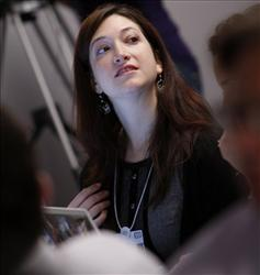 Randi Zuckerberg speaks during a social networking session at the opening day of the World Economic Forum in Davos.