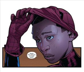 New Ultimate Spider-Man Miles Morales, a half-Hispanic, half-black iteration of the character, is seen in this panel from Ultimate Fallout #4.