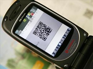 A 'QR Code' displayed on a mobile phone.
