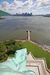 The view of downtown Manhattan from the statue's crown.