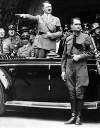 Adolf Hitler poses during a parade in Berlin in 1938.