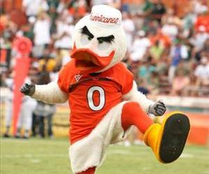Miami's mascot performs before the Orange Bowl in this October 13, 2007 file photo.