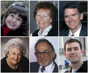 Victims, from top left: Christina Taylor Green, 9, Dorothy Morris, 76, Arizona Federal District Judge John Roll, 63, and from bottom left, Phyllis Schneck, 79, Dorwin Stoddard, 76, and Gabe Zimmerman, 30.
