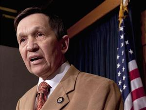 In this March 17, 2010 file photo, Rep. Dennis Kucinich, D-Ohio, speaks during a news conference on Capitol Hill in Washington.