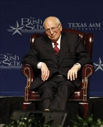 Former Vice President Dick Cheney reacts to the crowd during a meeting of former President George H.W. Bush's administration's key decision-makers,  Jan. 20, 2011 in College Station, Texas.