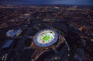 An aerial photo of the London 2012 Olympic Stadium.