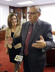 Maricopa County Sheriff Joe Arpaio says he has not decided to whether to endorse Republican presidential candidate Rep. Michele Bachmann, R-Minn., at his office Sept. 14, 2011, in Phoenix.
