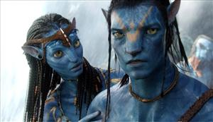 In this film publicity image released by 20th Century Fox, the characters Neytiri and Jake from Avatar.