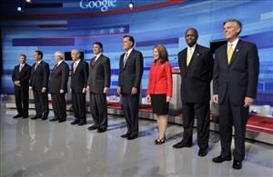 From left: Gary Johnson, Rick Santorum, Newt Gingrich, Ron Paul, Rick Perry, Mitt Romney, Michele Bachmann, Herman Cain, and Jon Huntsman.