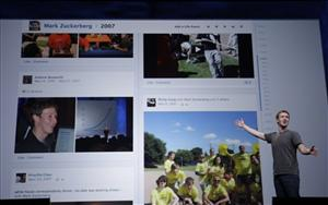 Facebook CEO Mark Zuckerberg shows Timeline during the f/8 conference in San Francisco Thursday.