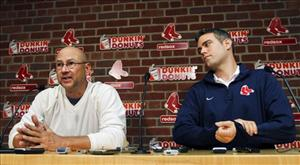 Boston Red Sox manager Terry Francona, left, speaks as team general manager Theo Epstein listens during a news conference at Fenway Park in Boston Thursday.