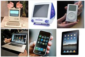 This combination of six file photos shows a series of Apple Inc. products released during Steve Job's tenure as CEO of the company.
