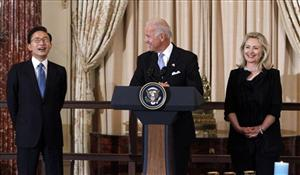 Hillary Rodham Clinton and Joe Biden with South Korean President Lee Myung-bak.