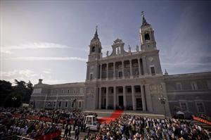 The Almudena Cathedral in Madrid, Spain.