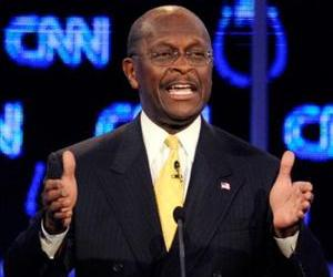 Herman Cain participates in the Republican presidential debate in Las Vegas.