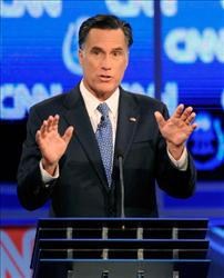 Mitt Romney participates in the Republican presidential debate airing on CNN, October 18, 2011 in Las Vegas, Nevada.