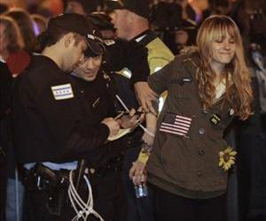 A protester gets arrested during an Occupy Chicago march and protest in Grant Park in Chicago on Oct. 23.