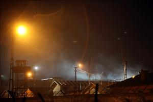 Smoke billows from a building of a jail in the eastern Turkish city of Van, on October 25, 2011.
