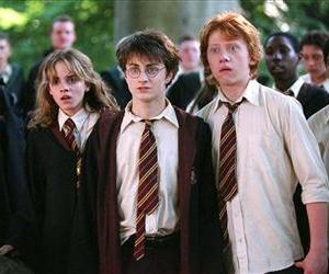 Emma Watson as Hermione Granger, Daniel Radcliffe as Harry Potter and  Rupert Grint as Ron Weasley are shown in a scene from Harry Potter and the Prisoner of Azkaban.