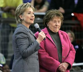 Then-Democratic presidential hopeful Hillary Rodham Clinton stands with her mother, Dorothy Rodham at a campaign event in Iowa, Dec. 7, 2007.