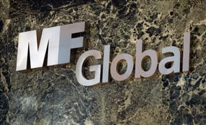 An MF Global sign is seen in the office building where MF Global Holdings Ltd have offices in Manhattan on November 1, 2011 in New York City.