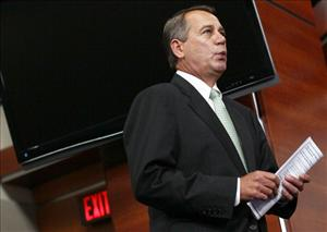 WASHINGTON, DC - NOVEMBER 03:  U.S. Speaker of the House John Boehner arrives for a press conference at the U.S. Capitol November 3, 2011 in Washington, DC. Boehner was questioned during the press conference by Steve Kroft of '60 Minutes' about stock trading.