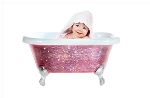 The Baby Diamond Bathtub can also be used for your pet ... or to hold your beverages.