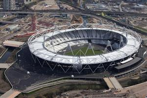 This is an aerial view of the Olympic Stadium in London with a newly turfed event field,