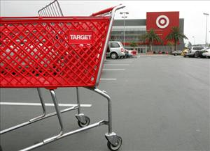 A shopping cart stands in the parking lot of a Target store May 15, 2006 in Albany, California.