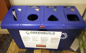 Multi-hole recycle bins dot the convention hall at the Greenbuild International Conference and Expo convention Wednesday, Nov. 11, 2009, in Phoenix.