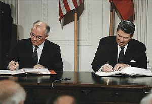 President Reagan and Russian General Secretary Gorbachev signing the INF Treaty in the East Room of the White House, December, 8, 1987.