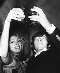 Film director Roman Polanski is shown with his wife, Sharon Tate, toasting the opening of Rosemary's Baby in London in 1969.