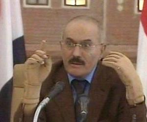 In this image made from video, Yemen's President Ali Abdullah Saleh speaks on Yemen State Television broadcast Saturday, Oct. 8, 2011.