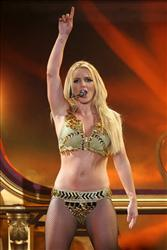 Britney Spears performs on a stage during a concert in Moscow, Russia, Saturday, Sept. 24, 2011.
