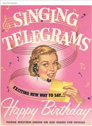 A Western Union singing telegram advertisement from 1955.