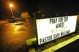 Community members gather at New Life Assembly Church in Whitesville, W.Va., near Massey Energy's Upper Big Branch Coal Mine in Montcoal, W.Va. after an explosion rocked the remote coal mine.