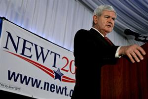 Newt Gingrich speaks at a town hall style event in New York earlier this month.