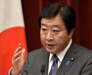 Japanese Prime Minister Yoshihiko Noda attends a press conference regarding the tsunami-stricken Fukushima nuclear plant, at his office in Tokyo on December 16, 2011.