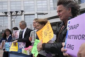 People protest child abuse by priests, in the Hague.