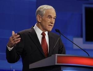 Republican presidential candidate Rep. Ron Paul, R-Texas, speaks during a Republican presidential debate in Sioux City, Iowa, Thursday, Dec. 15, 2011.