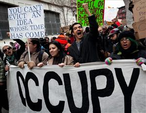 Occupy Wall Street protesters Saturday, Dec. 17, 2011, in New York.